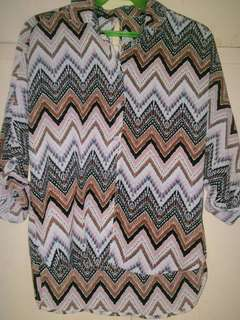Aztec Styled Polo Blouse