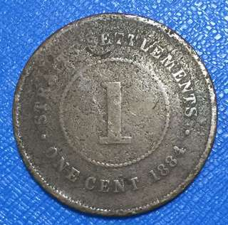 1884 Straits Settlements 1 Cent Coin