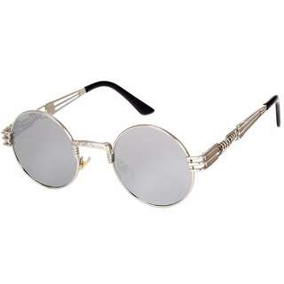 Round UV400 Vintange Retro Steampunk Sunglasses Silver