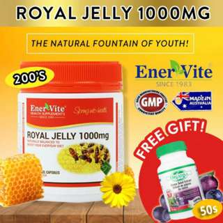 🚚 Enervite Royal Jelly 1000mg 200 Softgels Jumbo Pack | Expiry Date: May 2020