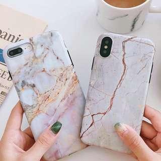 #手機殼IPhone6/7/8/plus/X : 金箔紋理大理石全包黑邊軟殼