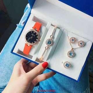 手錶+手鏈+項鏈+戒指+耳針 五件組