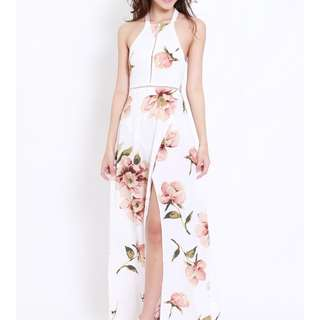 [BS68] Haltet Ribbon Back Floral Printed High Slit Maxi Dress
