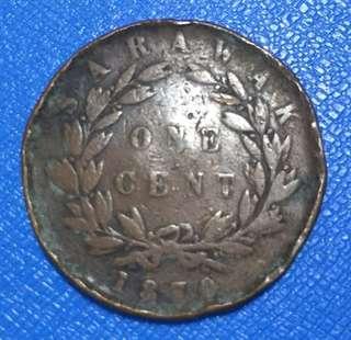 1870 Sarawak 1 Cent Coin