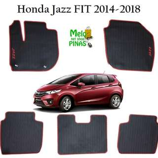 Anti-Slip Rubber Matting for Honda Jazz Fit 2014 to 2018 (Red Lining)