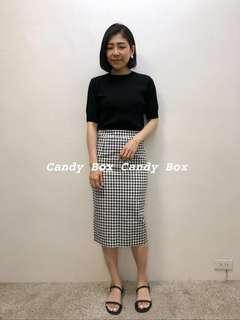 全新轉賣candybox東大門代購千鳥黑白細格色鬆緊腰半身裙
