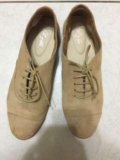 🚚 米白 真皮牛津鞋