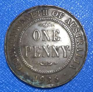 1936 Commonwealth of Australia 1 Penny Coin