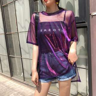 Spaghetti Strap Black Top + Glitter Short Sleeve Long Tee 2 Pieces T-shirt