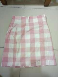 🚚 Esprit 粉紅色格紋A字裙