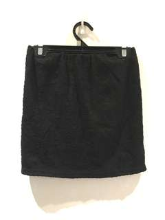 Black lace mini skirt