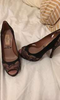 Valentino lace open toed high heels , 99% new, wore once only.