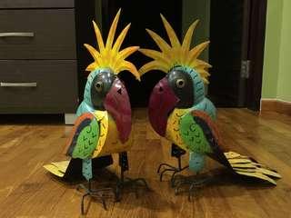 Tealight Candle Holder: Metal Parrots