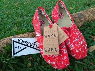 Wakai Original Gou Red - Sepatu Casual Slip On Pria/Wanita/Unisex