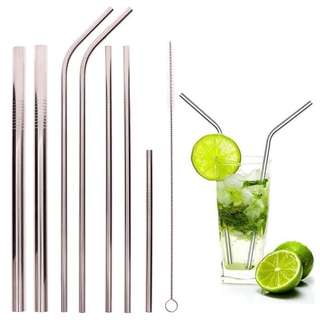 9-pc Variety Set: 7 Assorted Stainless Straws + Cleaning Brush + Pouch