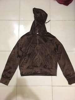 Brown suede crop jacket sweater hoodie