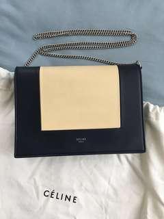 Celine cream and navy leather bag handbag shoulder bag frame evening clutch 淡黃 深藍 皮 手袋