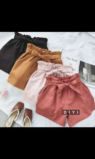 PREORDER Tie Knot Elastic High Waisted Shorts