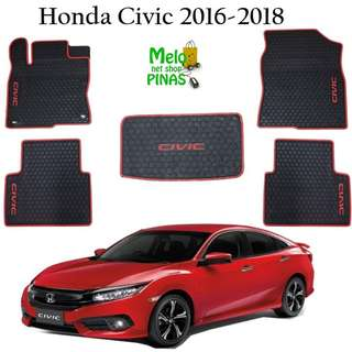 Honda Civic 2016 to 2018 Floor Mats Set Car  Premium Rubber Matting (Red Lining)