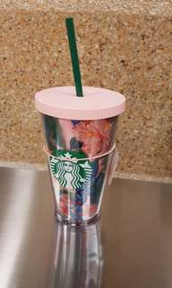 🚚 Starbucks bando flower cup cold cup