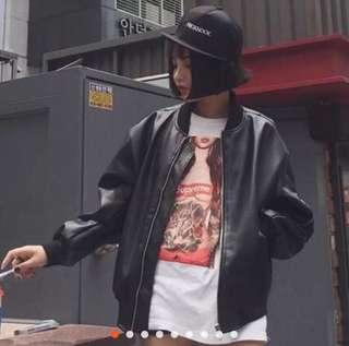 🚚 韓版皮衣短款立領拉鍊黑色機車外套