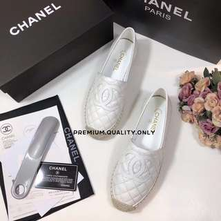 Chanel Plain White Espadrilles
