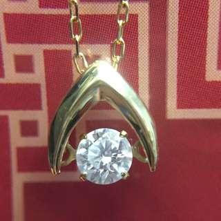 ⭕️✨ 18K黃金天然鑽石頸鏈 ✨⭕️