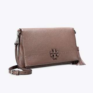 TORY BURCH MCGRAW FOLDOVER CROSS-BODY (SILVER MAPLE)