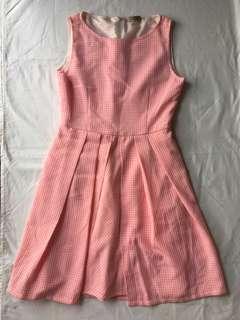 Dress kotak kotak pink ( checkered dress )