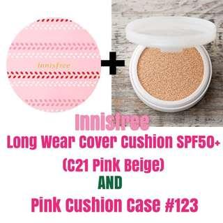 Innsfree Cushion Set: Long Wear Cover Cushion (C21) + Pink Case + Free Cushion Puff