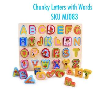 Wooden letters with words