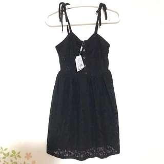 🚚 50% 黑色 細肩帶 綁帶 蕾絲 洋裝
