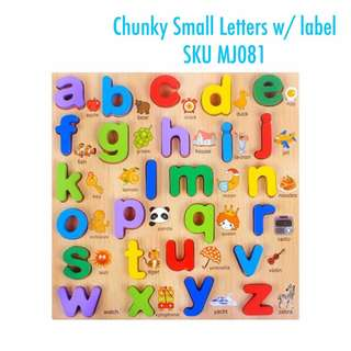 Wooden Chunky small letters with labels