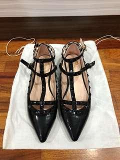 HK Black Studded Flats