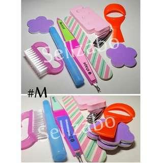 💅 Nails Beauty Tools Sets : 8 Pcs : Care : Grooming : Fingers : Toes : Fingernails : Toenails :  Manicure : Pedicure : Pink : Purple : Colour : Bundle : #M