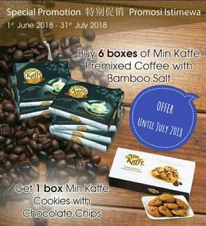 OFFER (6 Boxes Min Kaffe +1 Free Min Cookies)
