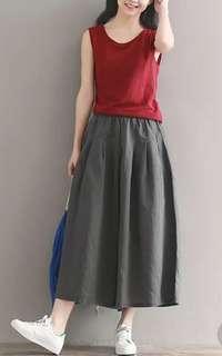 Wide leg fashion 3/4 skirt pants
