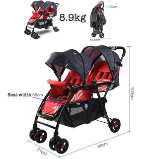 Twin Double Baby Stroller Pram Full Recline FREE Delivery