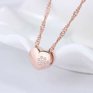 s925純銀鍍玫瑰金鑲鑽愛心心型項鍊吊墜飾