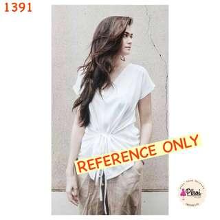 Blouse putih polos / blus wanita murah / batwing hitam / baju kerja / 1391
