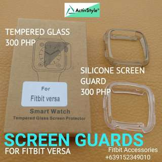 Fitbit versa new product alert!  Screen guards for your Fitbit Versa  Screen guards - 300 PHP Clear Grey  Screen Tempered Glass