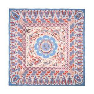 雪紡 真絲絲巾: 敦煌 莫高窟 407窟 三兔蓮花藻井圖案 大size (110cm x 110cm) 藍色