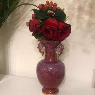 酒紅色瓦器花樽 花瓶 裝飾 婚禮佈置 甜品枱佈置