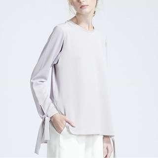 Shop At Velvet - Lilac Bow Long Sleeves - All Size (warna agak ke ungu muda pastel)