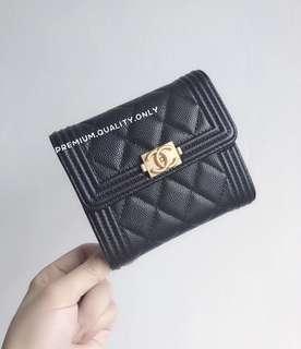 Chanel Caviar Boy Wallet - black