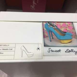 Charlotte Olympia Dolly水藍色 金防水台 跟鞋 37碼