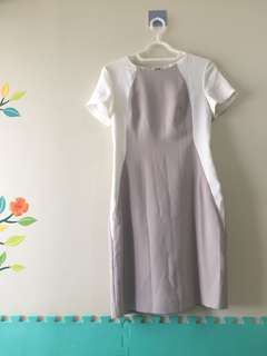 Office dress, G2000 white and gray, good as new