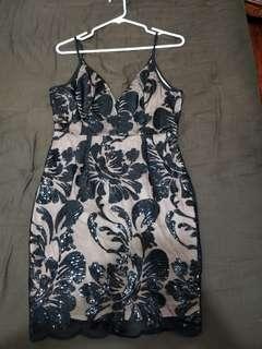 M Boutique black over beige sequin dress