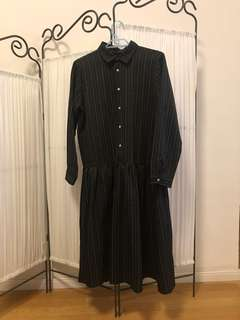 Korean black stripes one piece dress