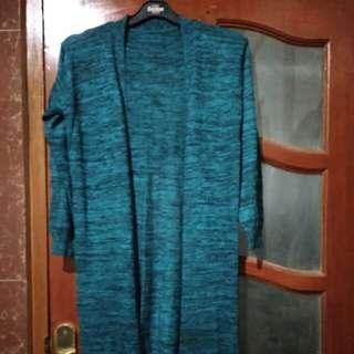 Blue long Cardigan Rajut